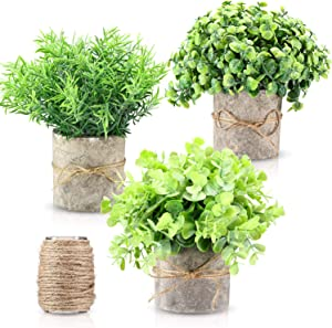 WILLBOND 3 Sets Artificial Eucalyptus Plant Rustic Farmhouse Decor for Home, Farmhouse Bathroom Decorations, Modern Farmhouse Decorations for Farmhouse Table