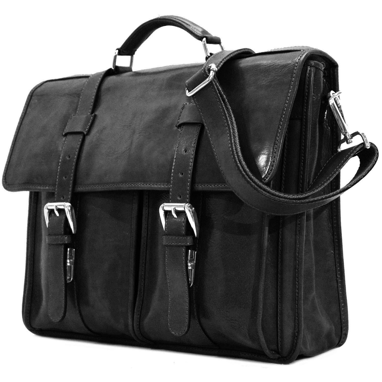 Floto Firenze Leather Buckle Strap Briefcase Messenger Bag - 1 Gusset (Black)