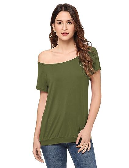 897b23e7adc70c Amazon.com  ROMWE Women s Off the Shoulder One Shoulder Boat Neck Random  Shoulder Short Sleeve Tee Shirt Tunic Top Blouse  Clothing
