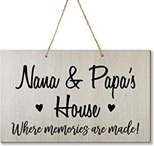 LifeSong Milestones Grandparent Family Name Wall Plaque Sign Grandmother Grandfather Gift Ideas for Home 8 x 12 (Nana and Papa White)