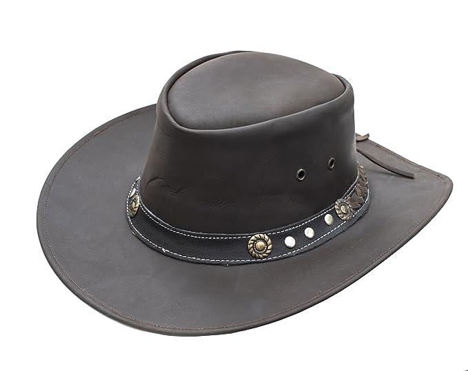 c4555de8 Wombat Ranger Brown Full Grain Leather Cowboy Hat Men Women: Amazon ...