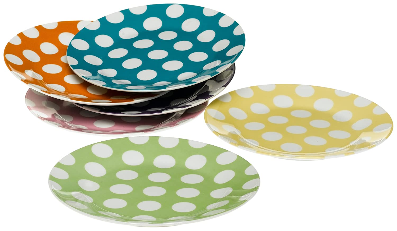 Classic Coffee & Tea White Dots Dessert Plates, Set of 6, Assorted