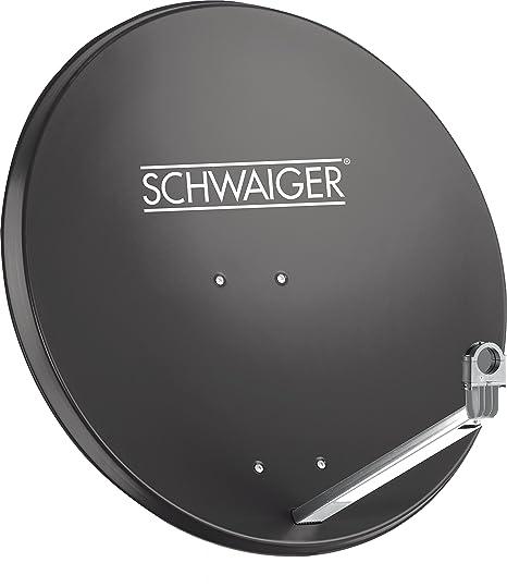 SCHWAIGER -197- Satellitenschüssel, Sat Antenne mit LNB Tragarm und Masthalterung, Sat-Schüssel aus Aluminium, 75 x 85 cm