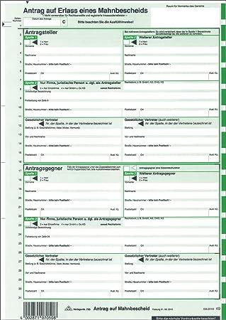 Rnk 705n Antrag Mahnbescheid Sd Nordrhein Westfalen 2 X 2 Blatt
