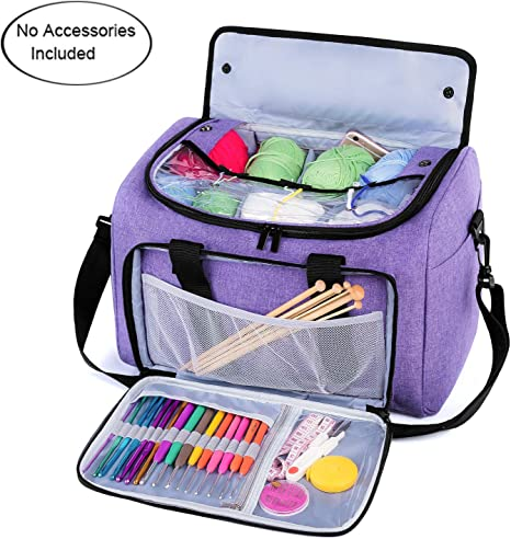 Teamoy Knitting Bag Yarn Storage Tote with Inner Divider for Yarn and Unfinis...