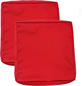 FLYMEI Patio Cushion Covers, Outdoor Cushion Replacement Seat Covers, Large Chair Seat Covers Only (22'' X 24'' X 4'' 2Pack, Red)
