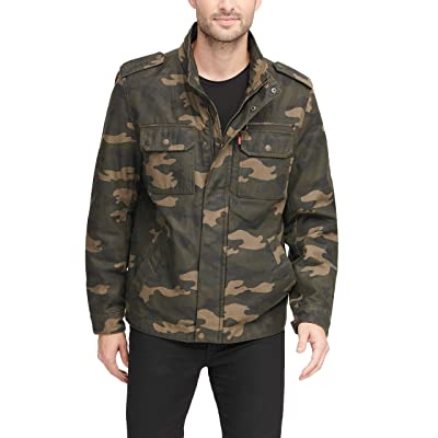 Levi's Men's Washed Cotton Two Pocket Military Jacket (Regular and Big and Tall Sizes) at Men's Clothing store