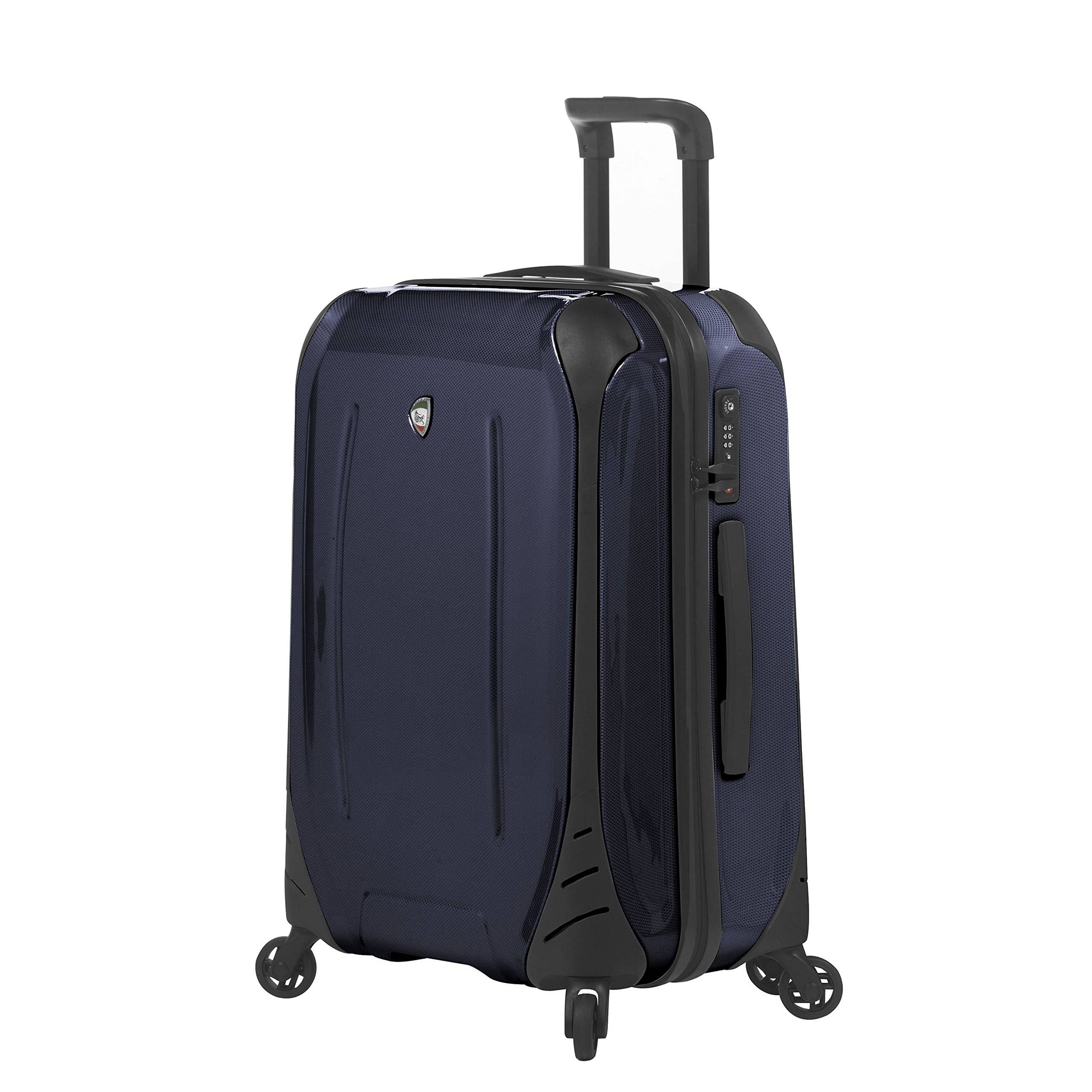 Mia Toro's Fibre Di Carbonio Elite Polished Carbon Fiber Wheeled Luggage (24-Inch, Blue)