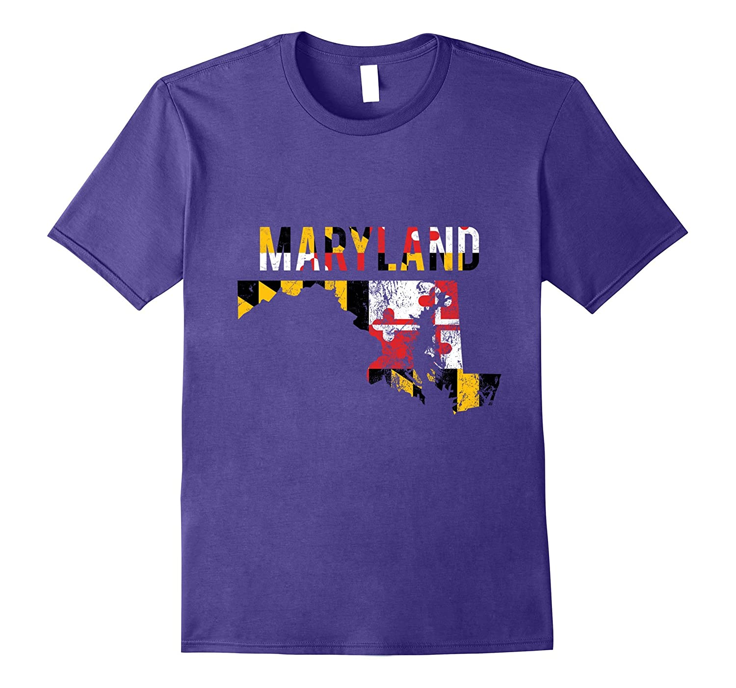 Distressed Maryland State Flag T Shirt With State Shape-T-Shirt