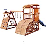 Little Tikes Real Wood Adventures Wildcat Falls Exclusive Wooden Outdoor Playset Playground with Slide, Swing Set and Climbin