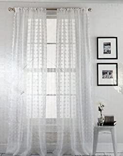 DKNY Pair Of Window Panels Curtains Drapery Set 2 Solid White With Square Tufts Rod