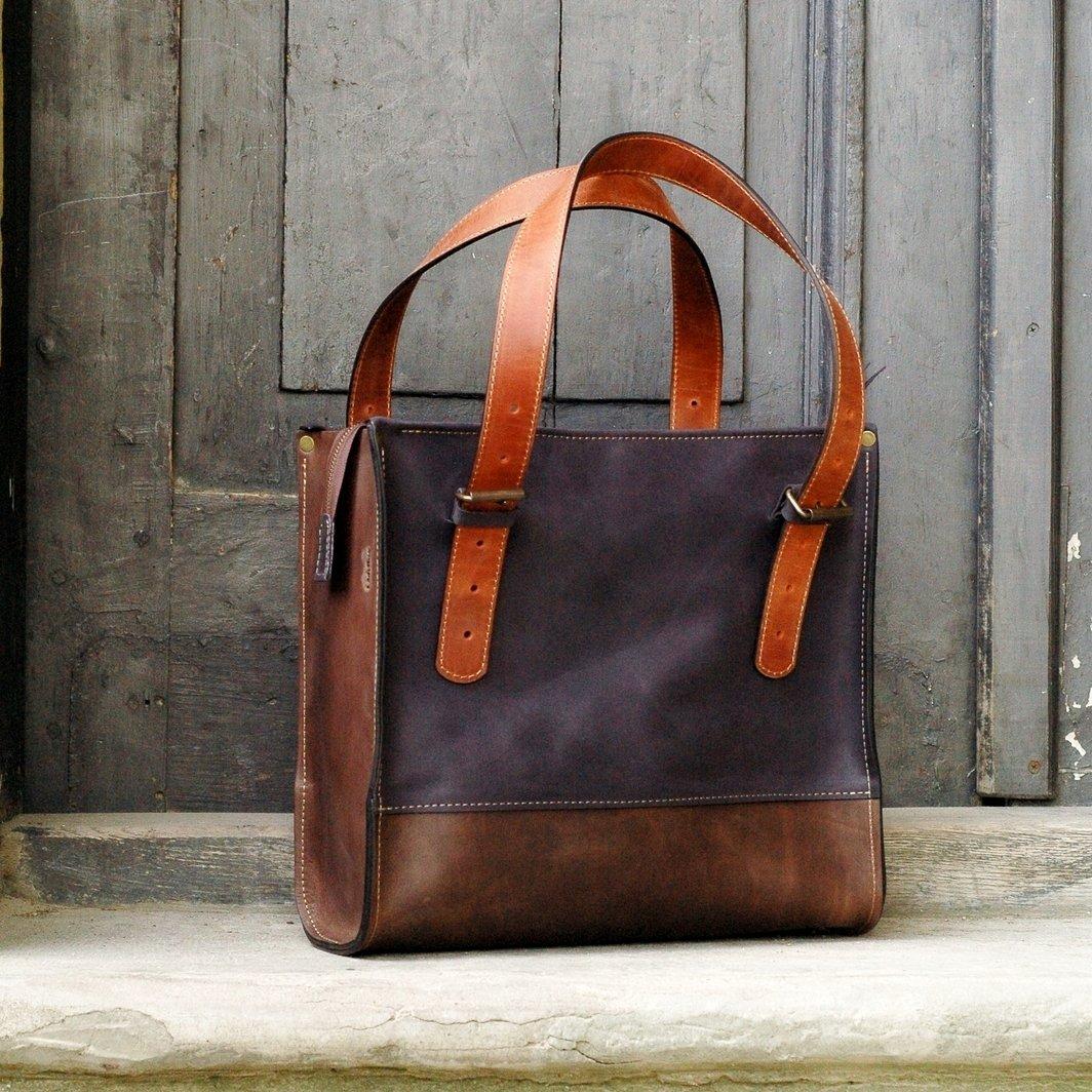 Handmade Leather Bag, Big City Bag, Natural Leather, Squer Bag, NEW