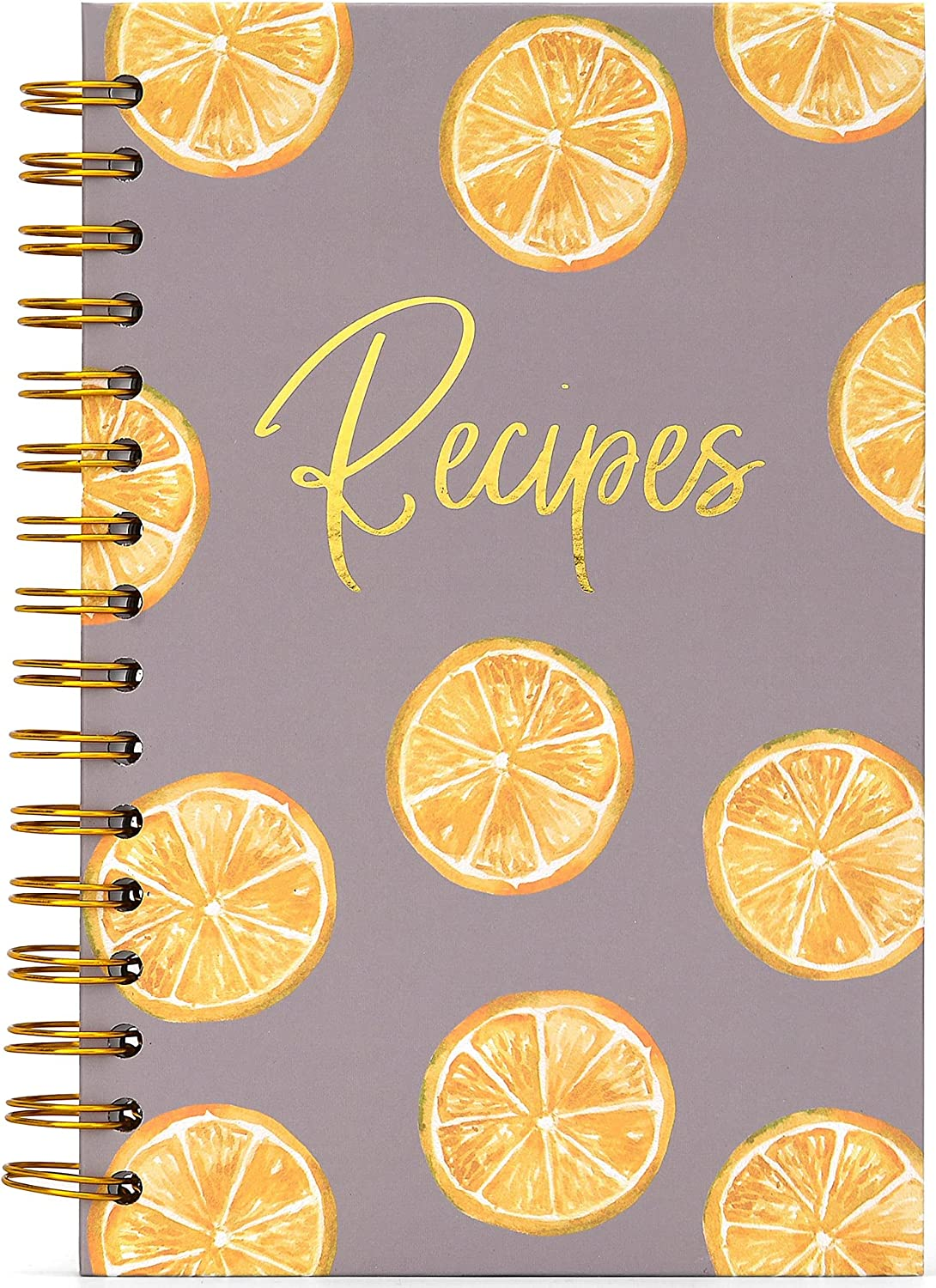 Blank Recipe Book To Write In Your Own Recipes, Recipe Notebook Hardcover Spiral Bound, Recipe Organizer, Cooking Recipe Journal, Cook Book Journals Blank Cookbook Fill in, Kitchen Lemon Decor, Make.