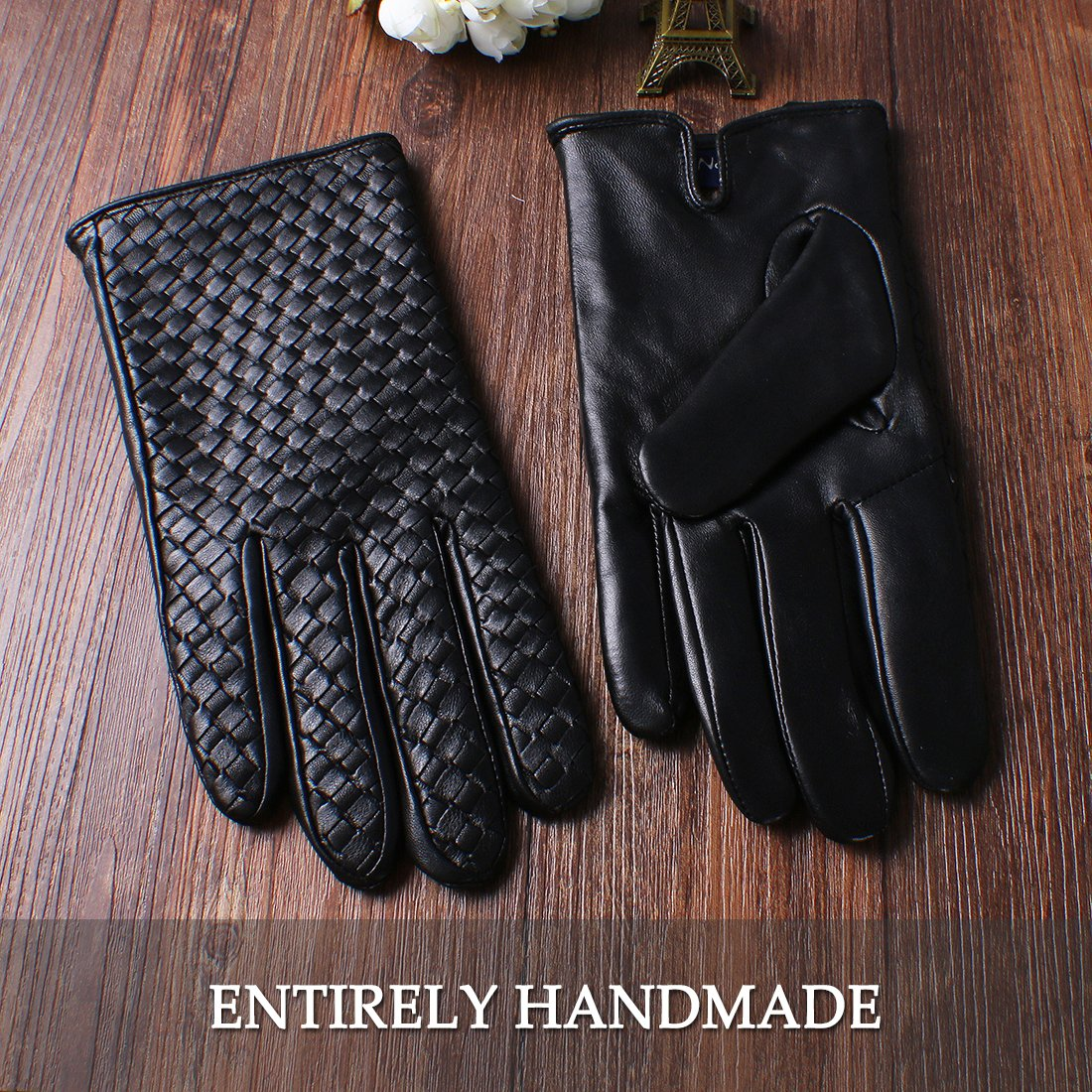 Nappaglo Mens Genuine Nappa Leather Gloves Touchscreen Hand-knitted Winter Warm Driving Cycling Mittens
