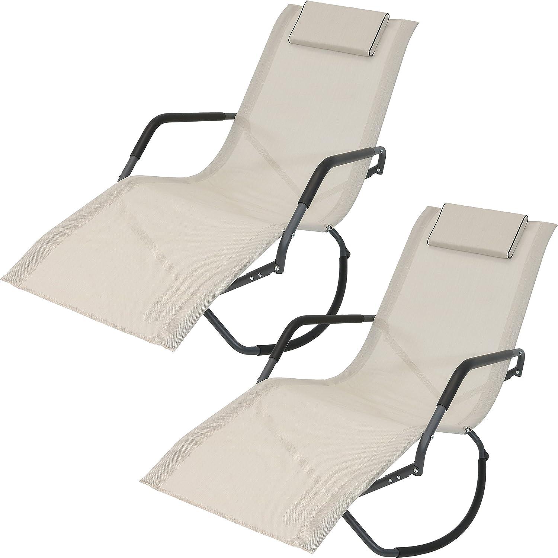Amazon com sunnydaze rocking chaise lounge chair with headrest pillow outdoor folding patio lounger beige set of 2 garden outdoor