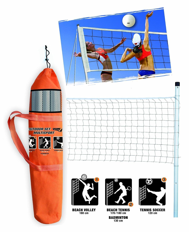 Juego Outdoor Multisport Kit multisport lleno de red impermeable Altura 220/cm postes de acero para anclaje a tierra o en la arena con el m/áximo la seguridad y Kit delimitazione Campo