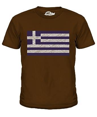 CandyMix Griechenland Kritzelte Flagge Unisex Jungen Mädchen T Shirt, Größe  2 Jahre, Farbe Braun