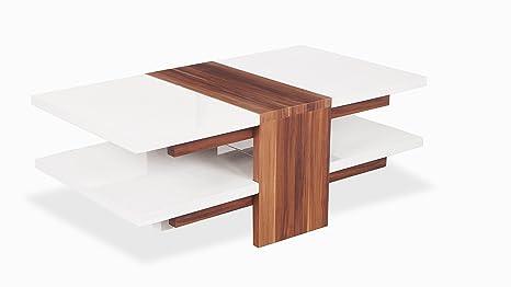 Uk leisure world tavolo da caffè in vetro bianco laccato nero