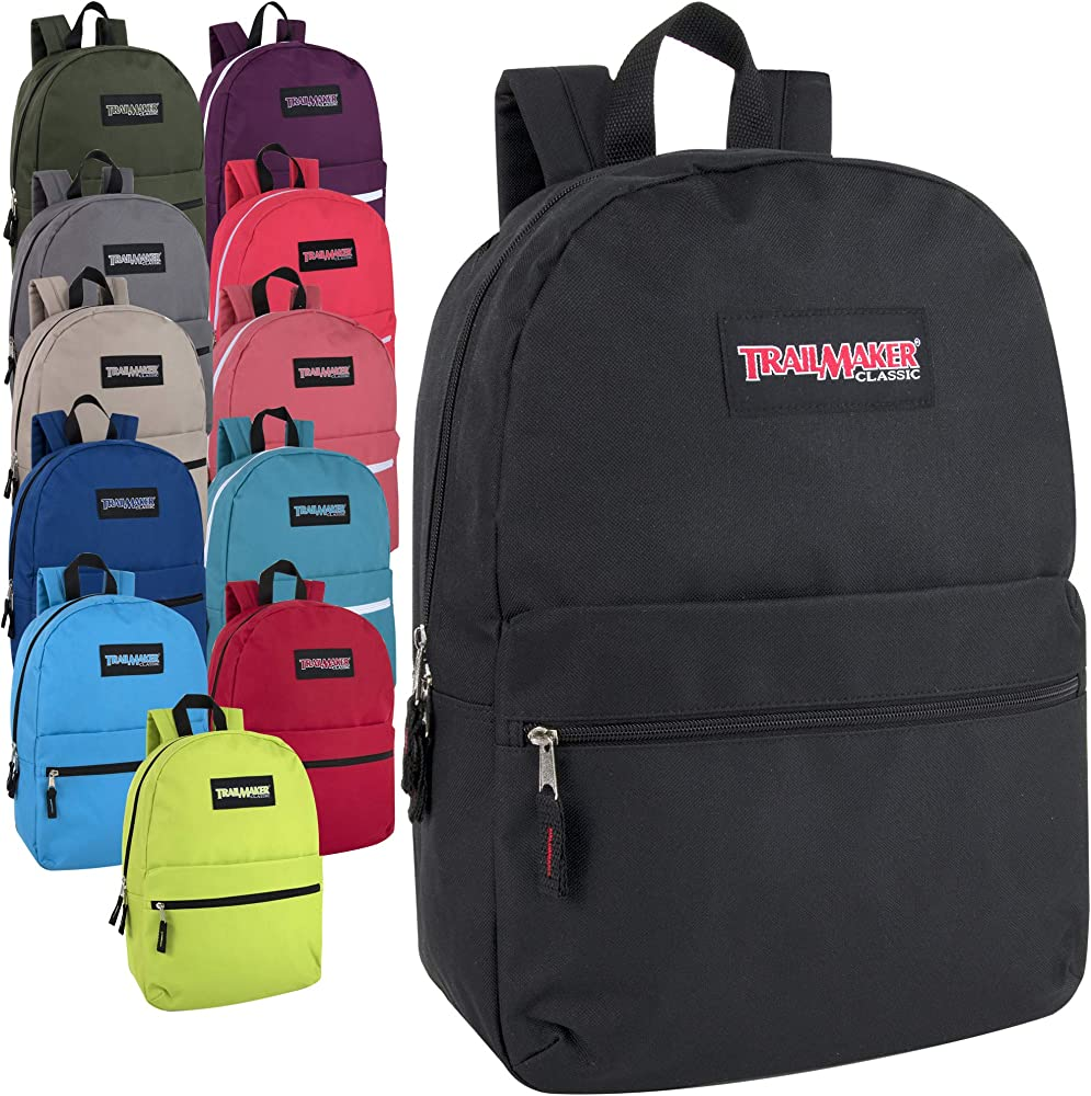 Trailmaker 17 Inch Classic Backpack Black Only Case Pack 24