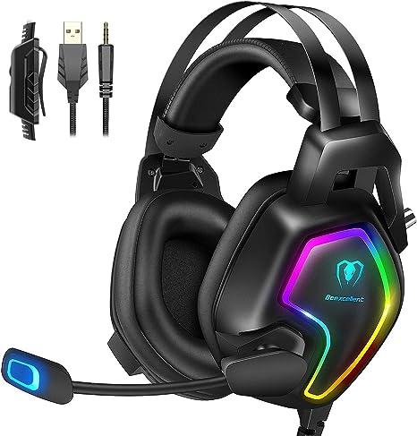 Cascos PS4 con Micrófono, Auriculares Gaming Profesional con Doble Haz, 50mm Drivers Sonido Envolvente, Reducción de Ruido y Comodidad, para PS4/Xbox ...
