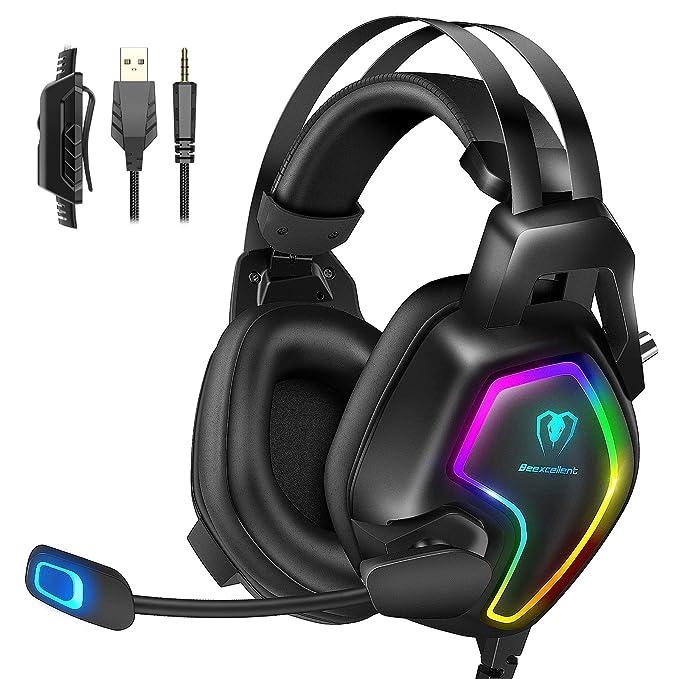 Cascos PS4 con Micrófono, Auriculares Gaming Profesional con Doble Haz, 50mm Drivers Sonido Envolvente, Reducción de…