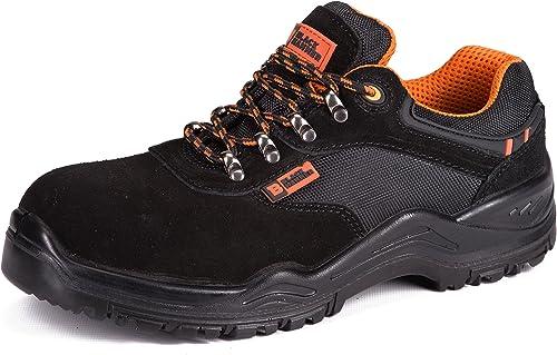 Black Hammer Chaussure de Sécurité S1P SRC Composite Plastique Protection Baskets Ultra Légères Antidérapante Chaussures de Travail et randonnée 1557