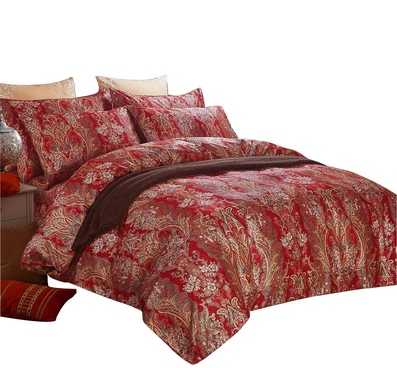 SexyTown Paisley Print Luxury Duvet Cover Set King Chinese Traditional Red  Asian Bedding King Chinese Wedding Duvet Cover Set with 1 Duvet Cover and 2  ...