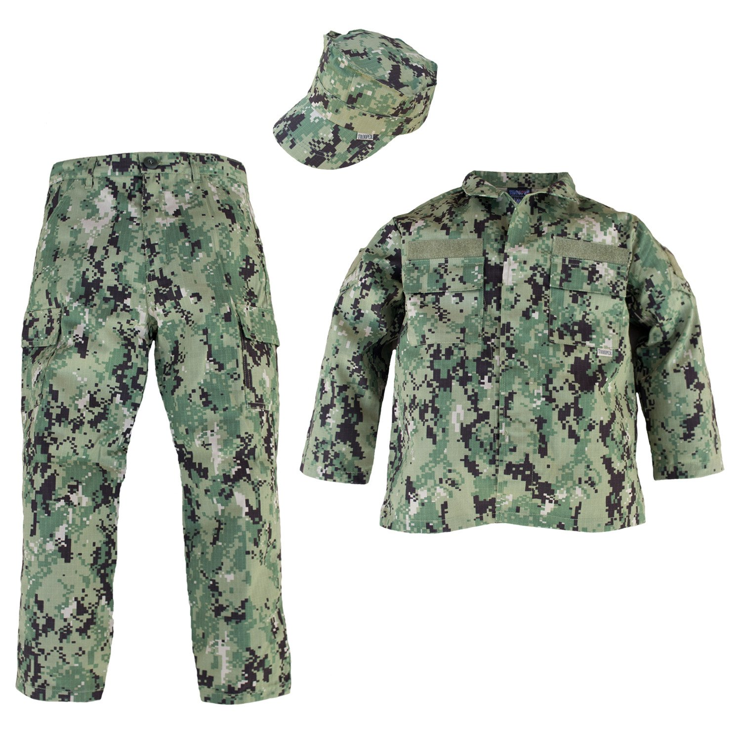Trendy Apparel Shop Kid's US Soldier Digital Camouflage Uniform 3pc Set Costume Cap, Jacket, Pants - NWU III - XS by Trendy Apparel Shop