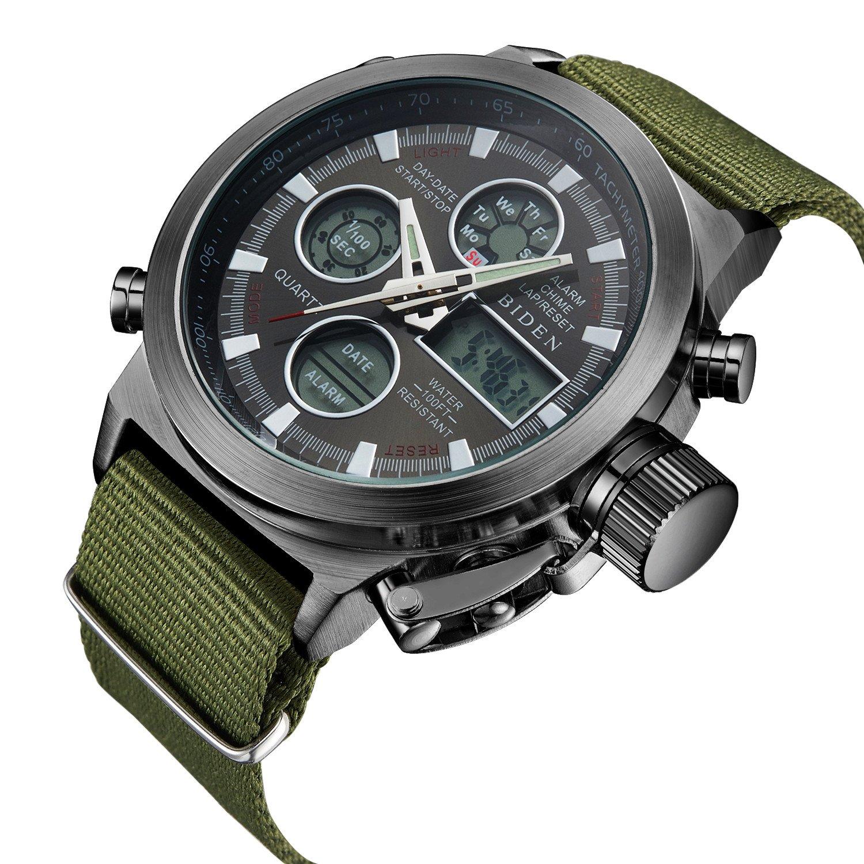 BIDEN Watch, Watch Men Digital Analog Sport Waterproof Watch,Multifunction LED Date Alarm Leather Wrist Watch (GreenBlack)