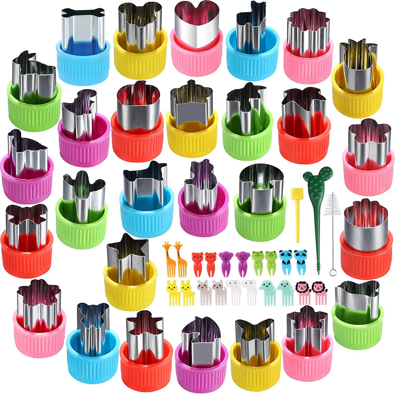 FIRETREESILVERFLOWER Vegetable Knife Shape set,Mini Size Biscuit Knife Set Fruit Biscuit Pastry Stamp Mold, Suitable For Children's Baking And Food Supplements.(28Pcs+20 Forks)