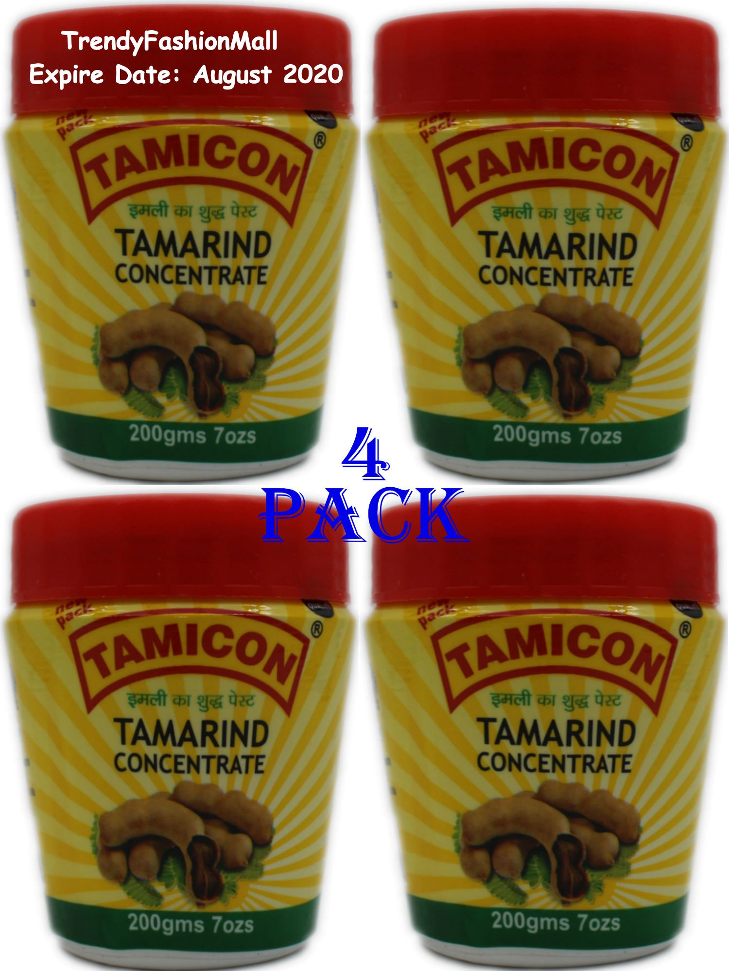 Tamicon Tamarind Paste 100% Natural 7 oz - 4Pack
