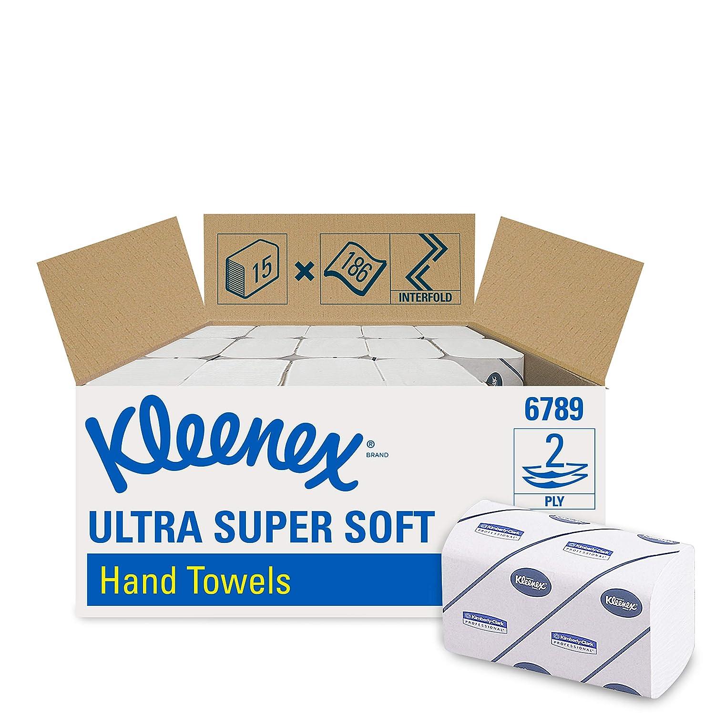 Kleenex 6789 Secamanos Interplegadas, 15 Paquetes X 186 con 2 Capas, Blanco