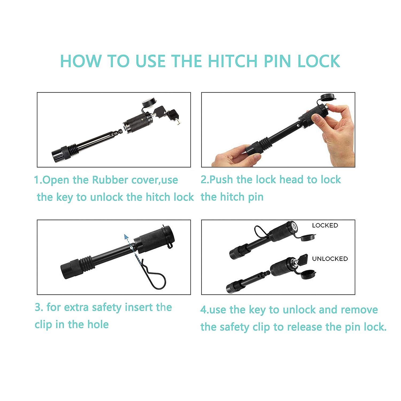1//2 and 5//8 Receiver Hitch Pin Lock Set Anti-Rattle for Class I,II,III,IV,V Hitches 1//2 and 5//8 Receiver Hitch Pin Lock Set Anti-Rattle for Class I BOYISEN Trailer Hitch Pin Lock