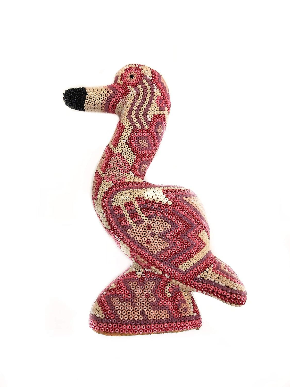 Huichol Handmade art Wooden Carving Flamingo Mexican Huichol Art