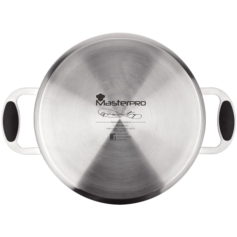 MasterPro Tartera 28x7.5 cm con tapaacero Inoxidable Apta para inducción Gravity, Acero, Plateado, 28 cm