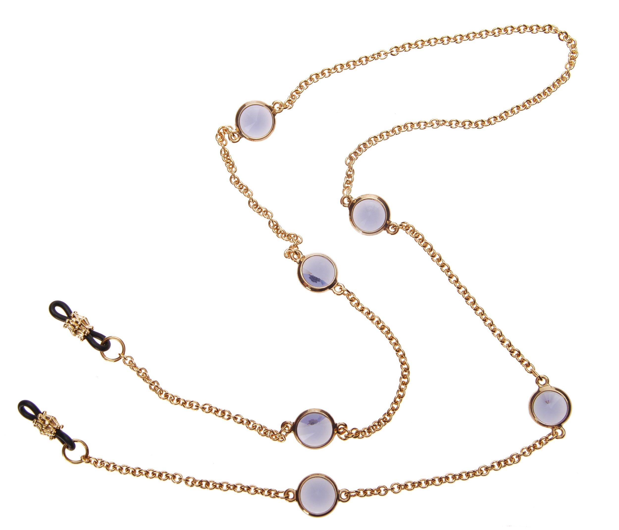 L. Erickson Charmer Eyeglass Chain - Tanzanite/Gold by L. Erickson
