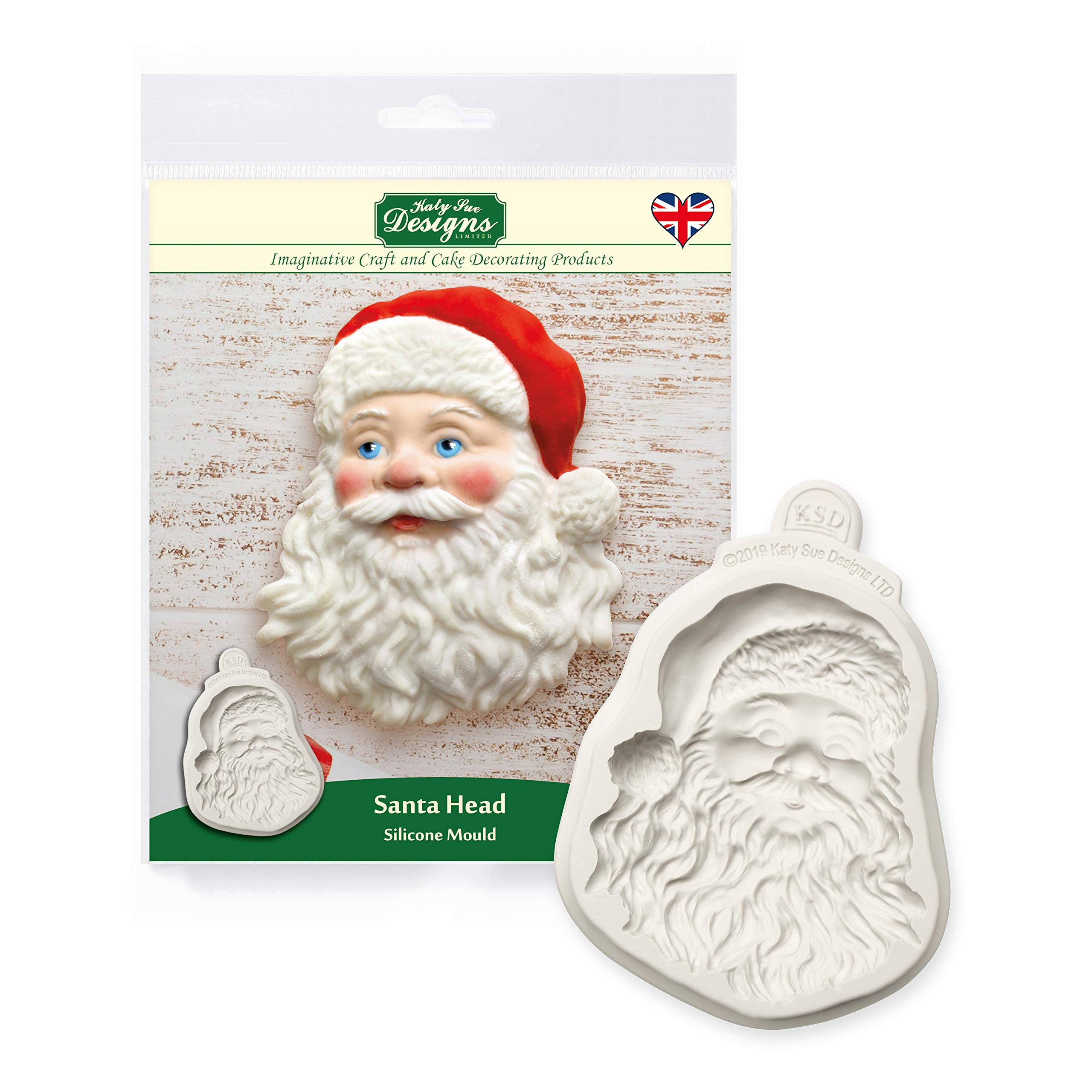 Katy Sue Santa Head Silicone Mold for Cake Decorating, Crafts, Cupcakes, Sugarcraft, Cookies, Candies, Cards and Clay, Food Safe Approved, Made in The UK