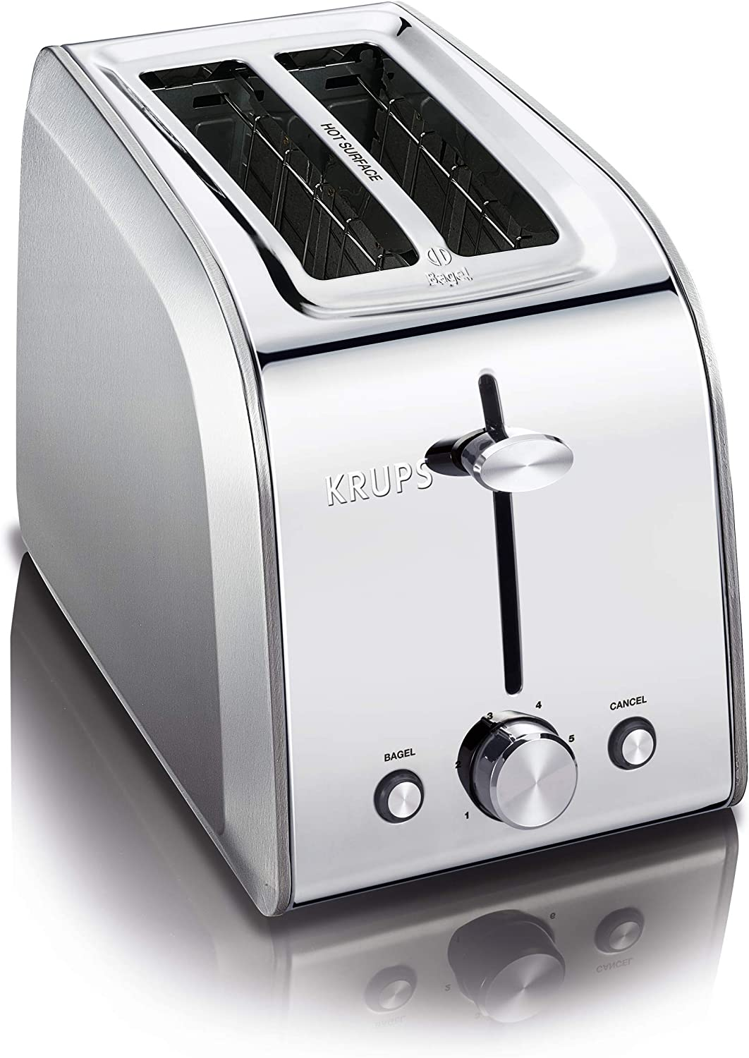KRUPS KH250D51 Stainless Steel Toaster with 6 Adjustable browning settings, 2-Slice, Silver (Renewed)