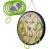 """RINGS - Marky Sparky's HOOK and Ring Toss Game - Includes large ready to hang 18"""" play board with 13 hooks and soft 3.5"""" rubber rings"""