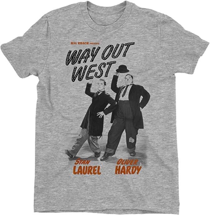 Laurel /& Hardy Way Out West Childrens Unisex Grey T-Shirt