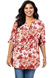 Roamans Women's Plus Size English Floral Bigshirt Button Down Tunic Shirt Blouse