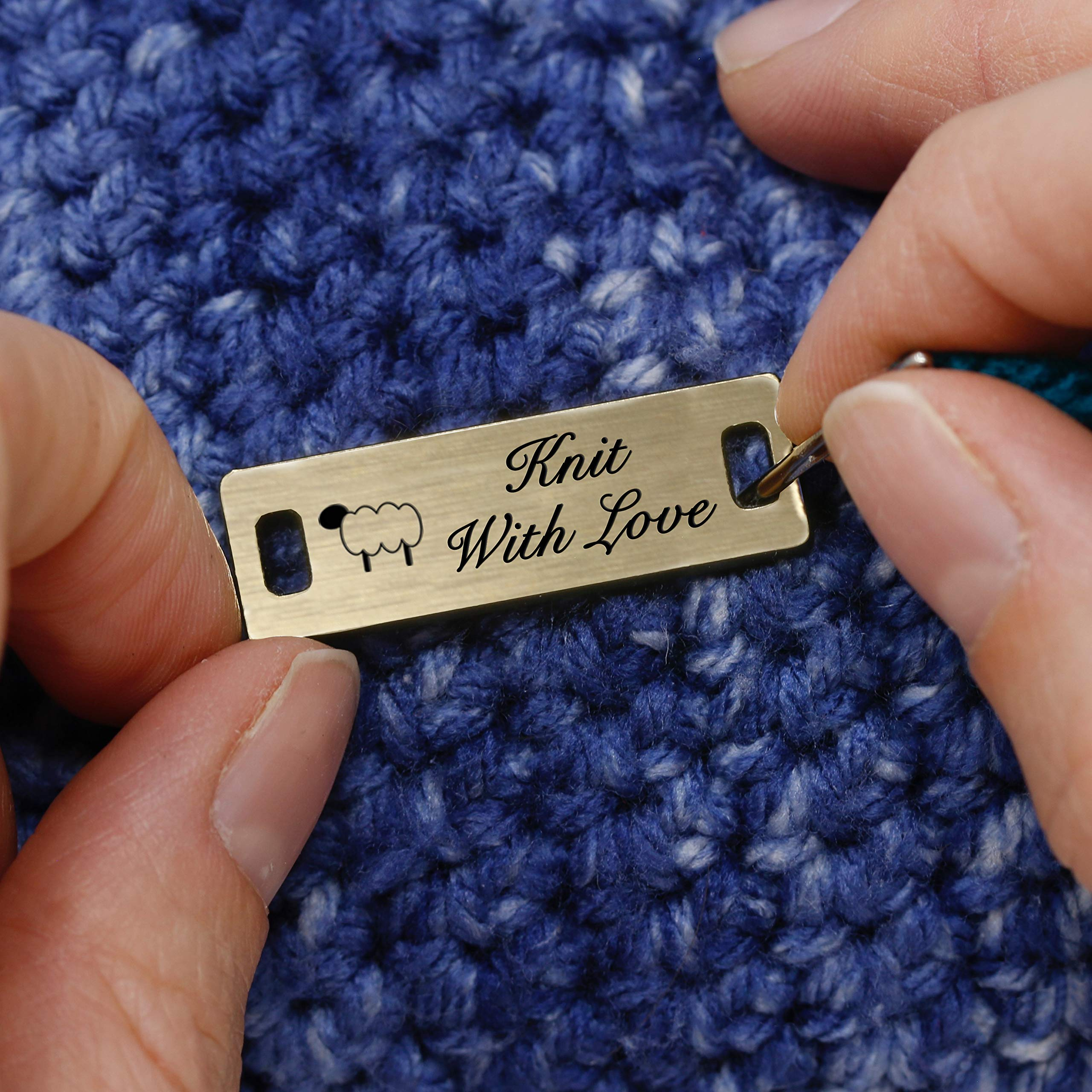 LHS Engraving | Personalized Handmade Tags Custom Engraved Brushed Brass Plastic Sewing & Knitting Notions Black Lettering USA - M6 by LHS Engraving (Image #4)