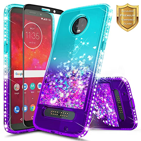 buy online a358c 926f5 Moto Z3 Case, Moto Z3 Play Case w/[Full Cover Tempered Glass Screen  Protector], NageBee Glitter Liquid Quicksand Waterfall Flowing Shiny  Sparkle Bling ...