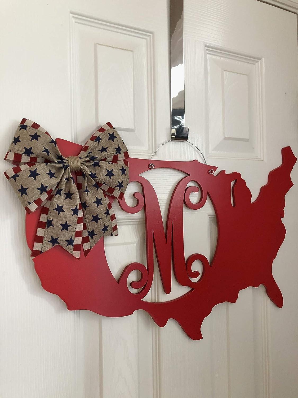 USA Map Patriotic Door Hanger Monogram 4th of July Door Hanger United States Monogram America Door Hanger 4th of July Wreath