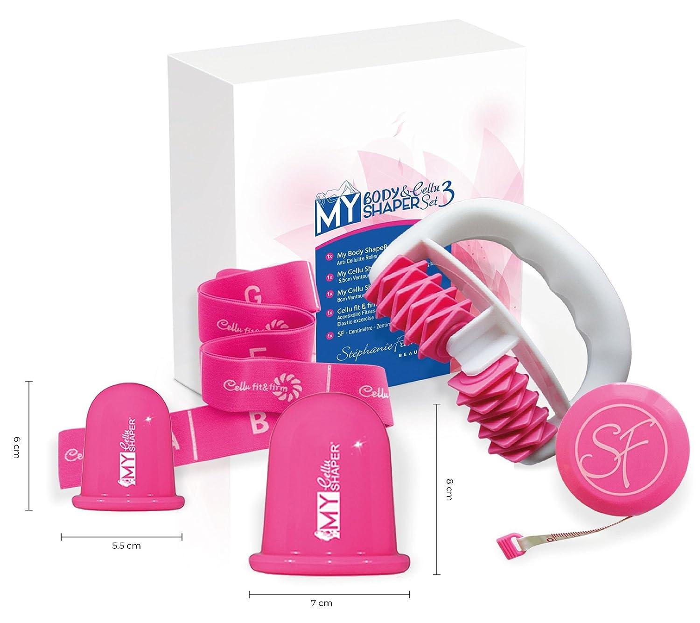 Das Power-Set gegen Cellulite : Der Massageroller My Body Shaper, die Saugglocken My Cellu Shaper S and L und das Elastikband Cellu Fit& Firm gelten als bewährte Cellulite-Behandlungsmethoden. Pink Stephanie Franck SetMFF3 pink