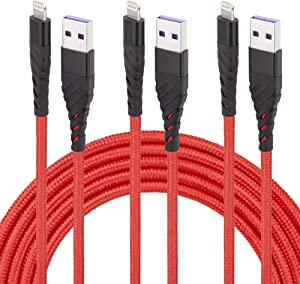 iPhone Charger Cord,3 Pack 10 ft Lightning Cable & Data Sync Fast 10 Foot Nylon Braided Cord Compatible with iPhone Xs max/xr/x/8/8 Plus/7/7plus/6/6s Plus/5s/5,iPad(red)