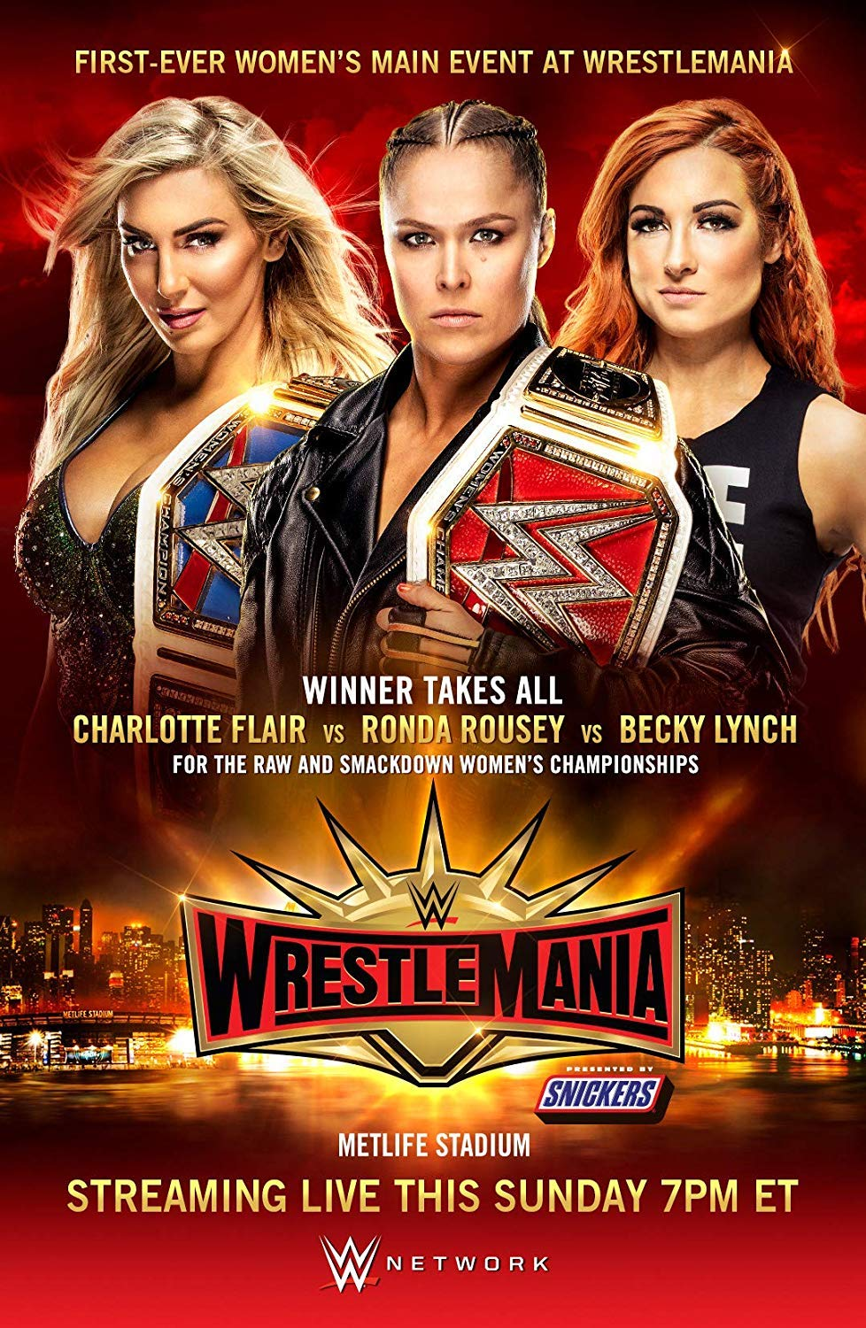 WrestleMania 35 Poster 2019 WWE Event Ronda Rousey VS Flair VS Lynch Art Print Art