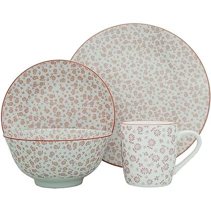 24 Piece Dining Set - Flower Design Patterned Porcelain Dinner Plates Side Plates Cereal  sc 1 st  Amazon.com & Amazon.com: 24 Piece Dining Set - Flower Design Patterned Porcelain ...