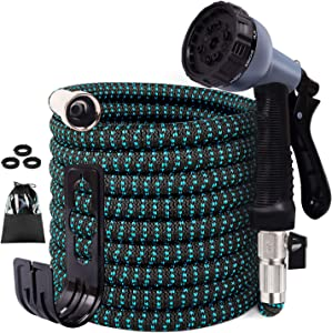 "Expandable Garden Hose, 30ft Flexible Water Hose with 10 Function Spray Nozzle, 3/4"" Nickel-Plated Brass Fittings, Double Latex Core, Durable Fabric, Expanding Hose for Lawn Car Pet Washing"