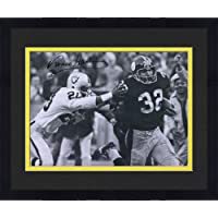 """$249 » Framed Franco Harris Pittsburgh Steelers Autographed 16"""" x 20"""" Black & White Immaculate Reception Photograph - Autographed NFL Photos"""